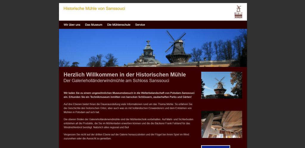 Beispiel: Diese Webseite des Museums Historische Mühle in Potsdam scheint etwas in die Jahre gekommen zu sein.